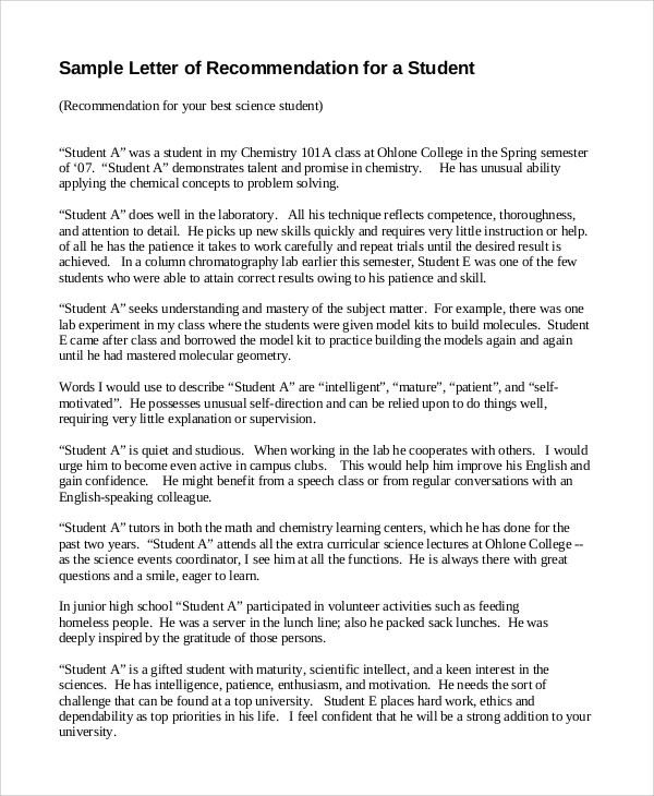 Sample Letter of Recommendation - 9+ Examples in PDF, Word