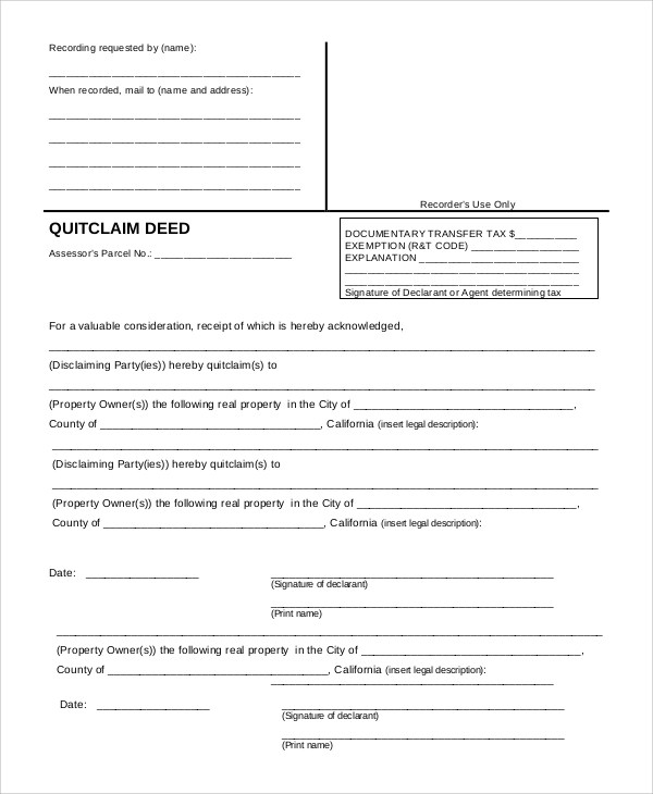9+ Quick Claim Deed Samples Sample Templates - Quick Claim Deed