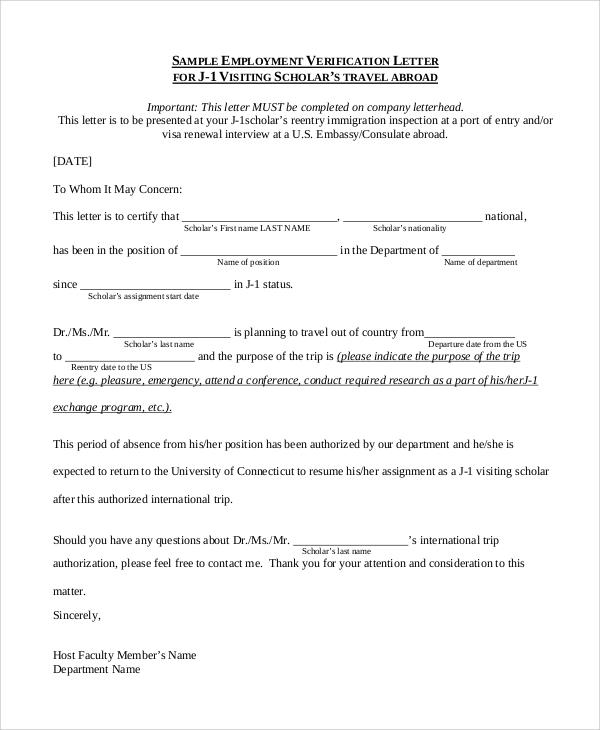 8+ Sample Employment Verification Letters Sample Templates