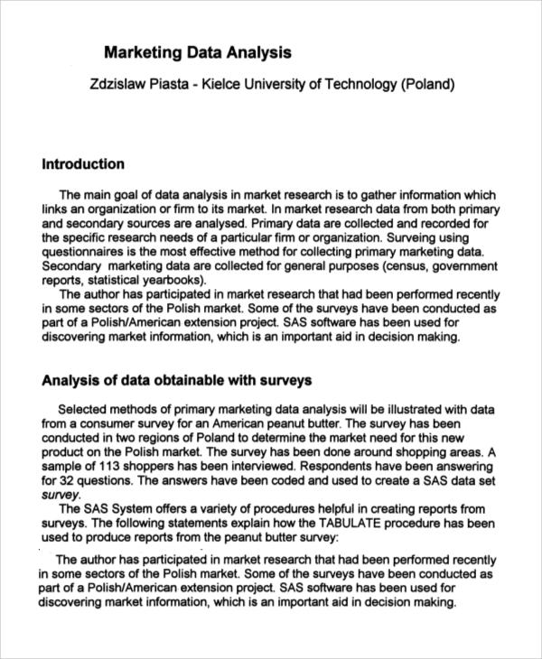 9+ Data Analysis Samples Sample Templates - data analysis format
