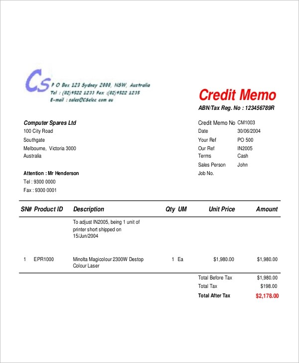 Credit Memo Form Sample  Design Certificate Template Using
