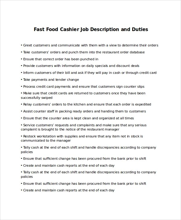 9+ Cashier Job Description Samples Sample Templates