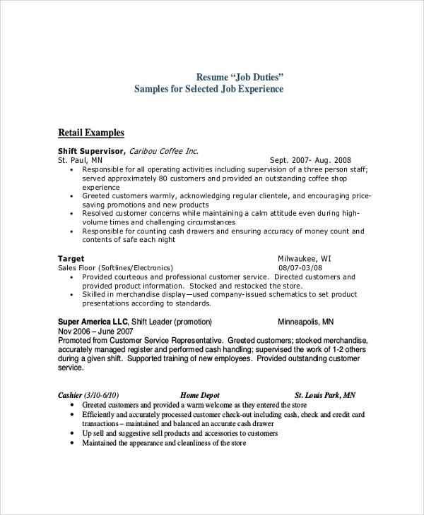 Sample Cashier Job Description - 9+ Examples in PDF, Word - cashier job description for resume