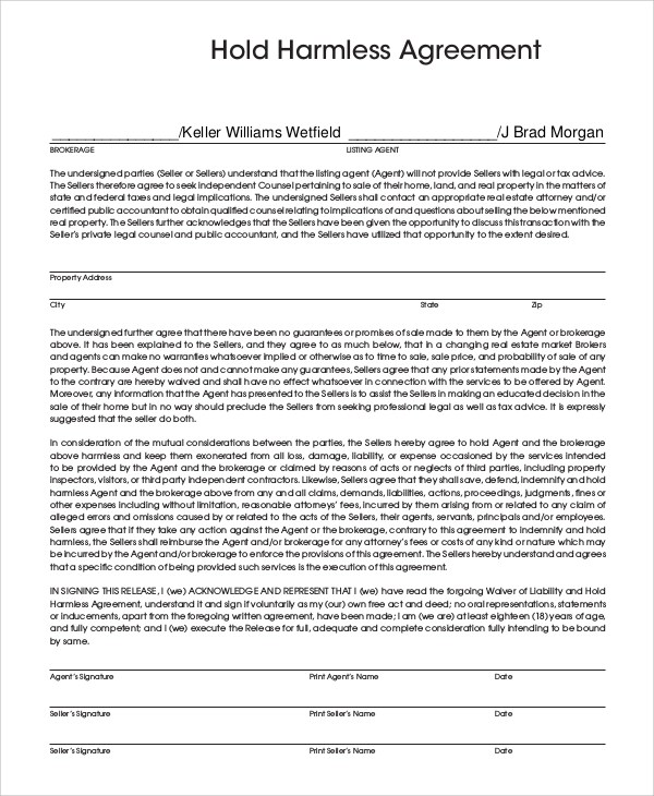 What Is A Hold Harmless Agreement Images - Agreement Letter Format - sample hold harmless agreement