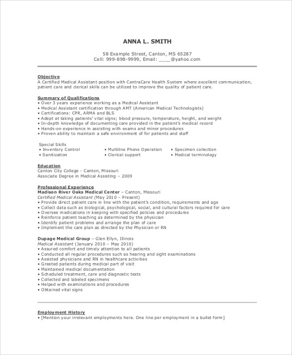 Medical Assistant Resume Objective | Cover Letter