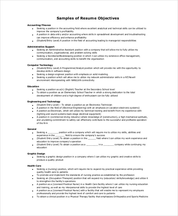 9+ Resume Objective Samples, Examples, Templates Sample Templates - accounting resume objective samples
