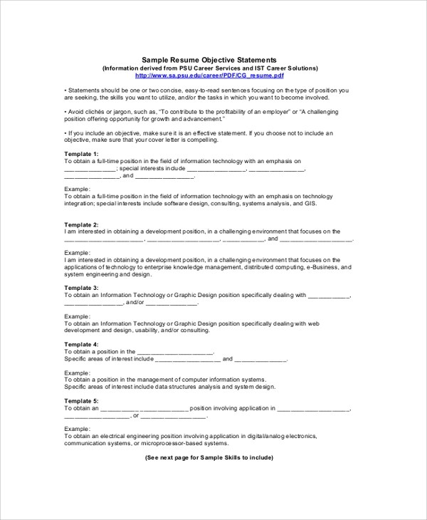 Resume Objective Statement Resume Objective Example Resume Examples