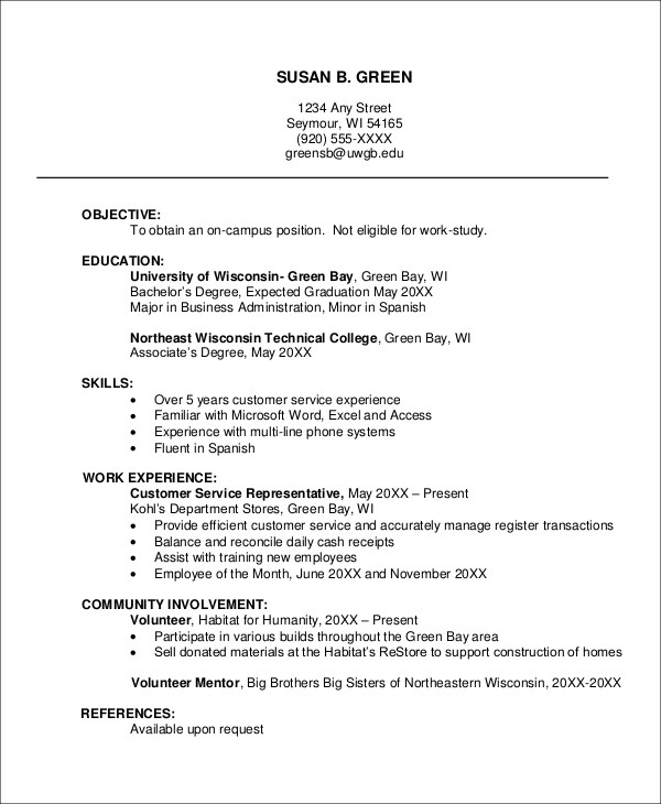 Example Of Resume Using Html Resume Examples Sample Job Resume 8 Examples In Word Pdf
