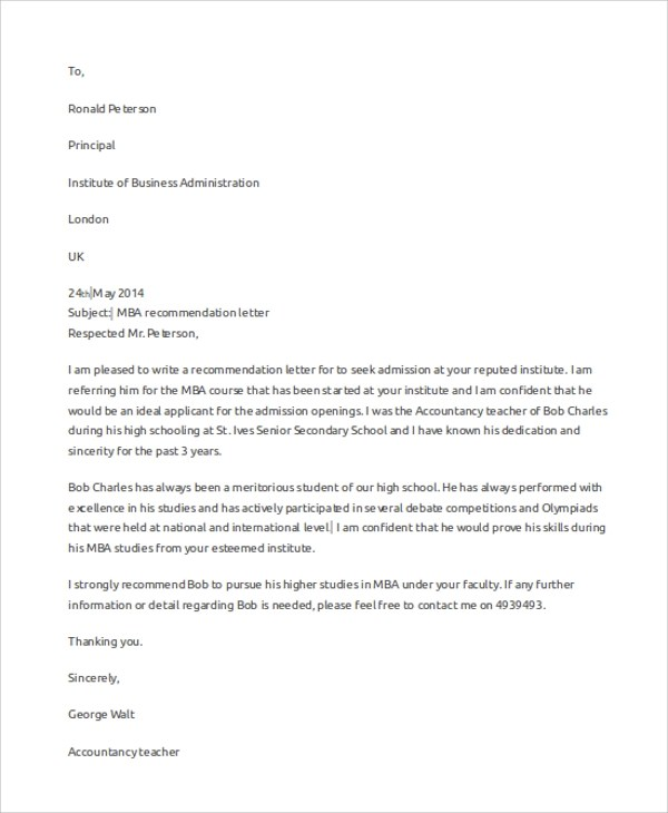 7+ Best Recommendation Letter Samples Sample Templates