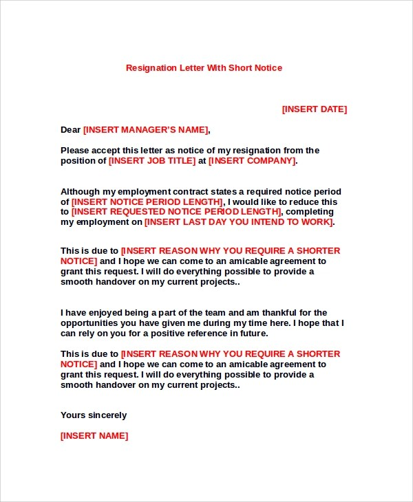 Sample Resignation Letter - 8+ Examples in PDF, Word - resignation letter short notice