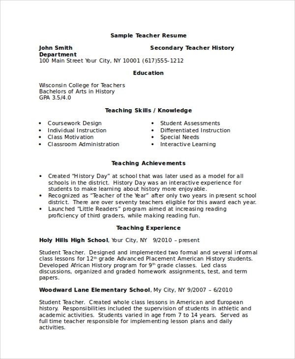 8+ Sample Resumes In Word Sample Templates