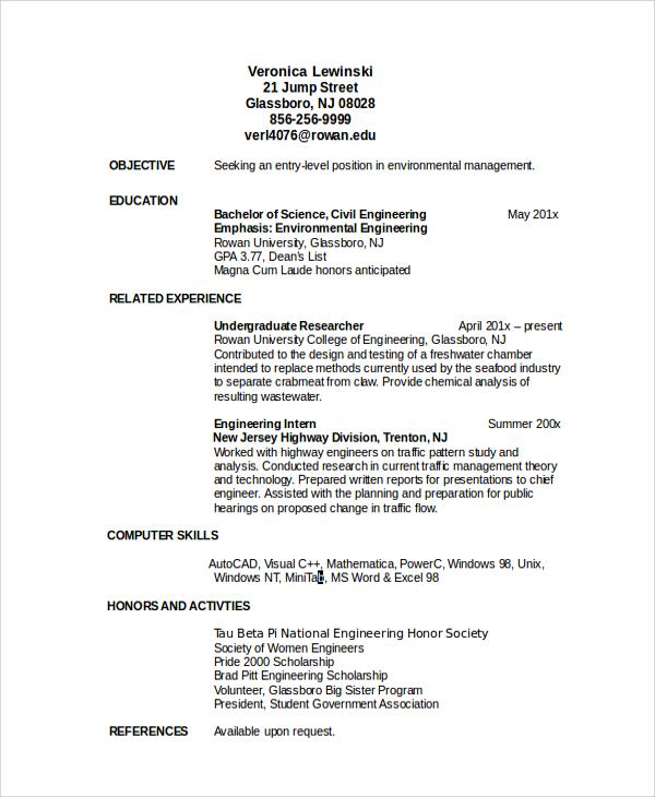blank resume sample download