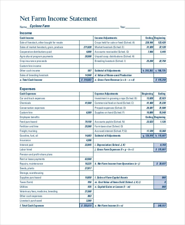 7+ Sample Income Statement Examples Sample Templates - sample income statement