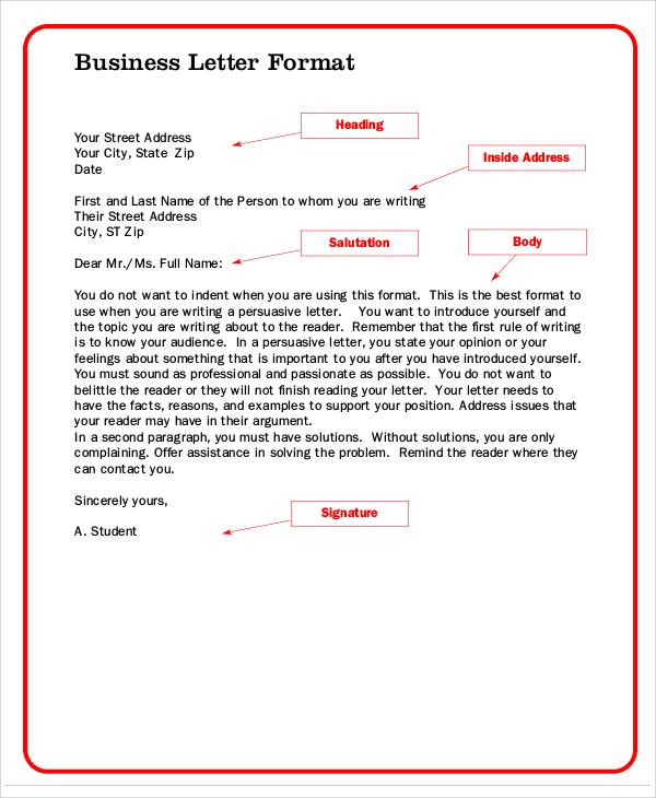 business formal letter