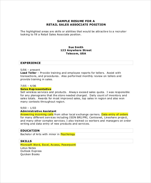 7+ Sales Associate Resume Samples Sample Templates - resume examples for sales associate retail