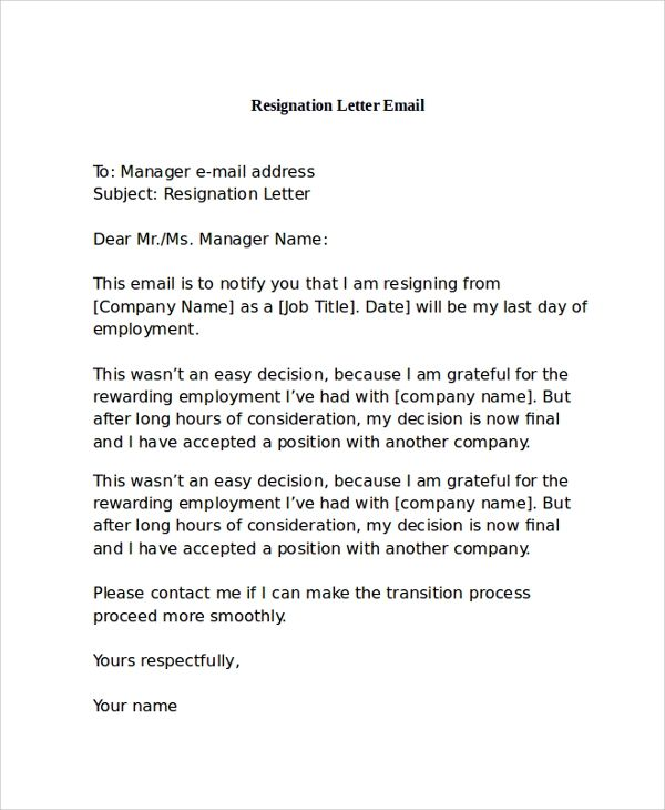 examples of letters of resignation