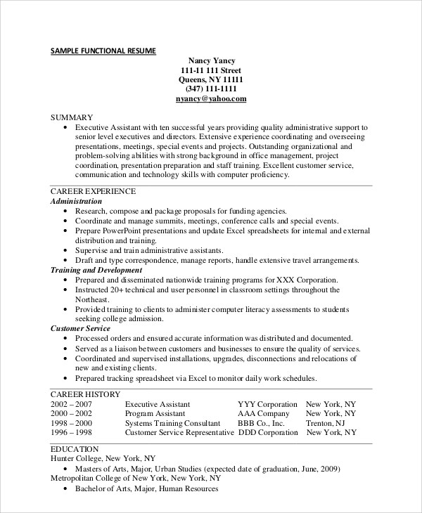 9+ Functional Resume Samples Sample Templates - Examples Of Functional Resumes