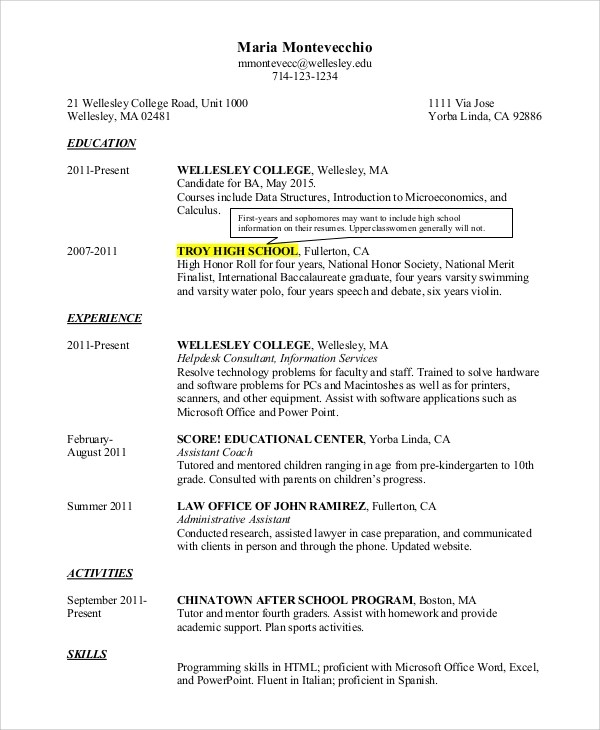 8+ Sample College Resumes \u2013 PDF, DOC Sample Templates