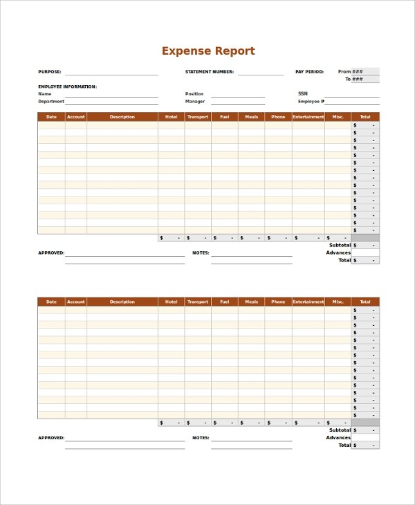 Expense Report Sample - 9+ Examples in PDF, Word, Excel