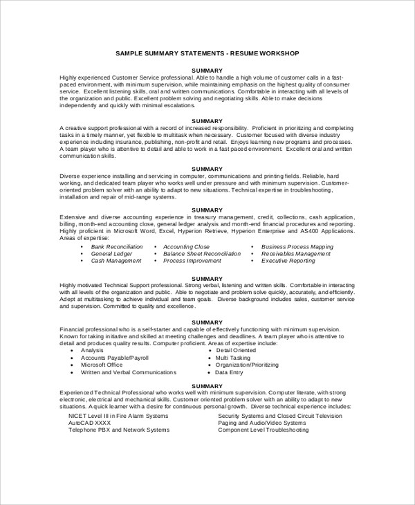 8+ Resume Summary Examples Sample Templates