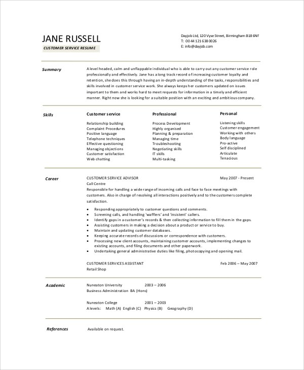 8+ Resume Summary Samples, Examples, Templates Sample Templates - it resume summary examples