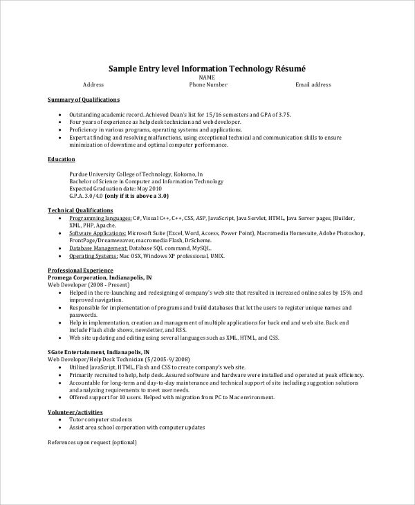 resume summary for entry level
