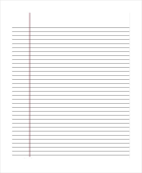 Printable Lined Paper Sample 10+ sample college ruled paper