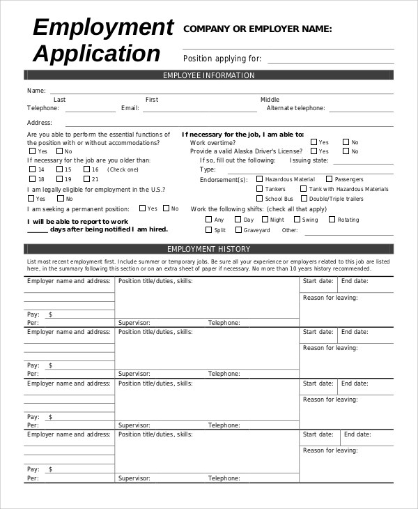 8+ Sample Employment Application Forms Sample Templates - Employment Application Forms