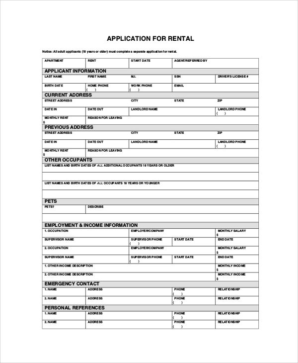 renting application