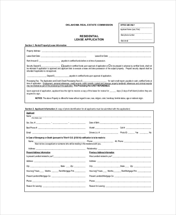 8+ Sample Rental Application Forms \u2013 PDF, Word Sample Templates
