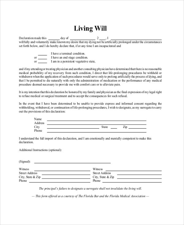 8+ Sample Living Will Forms Sample Templates