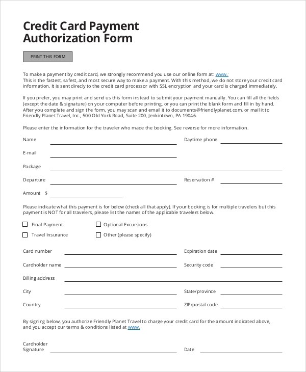8+ Credit Card Authorization Form Samples Sample Templates - travel agent form