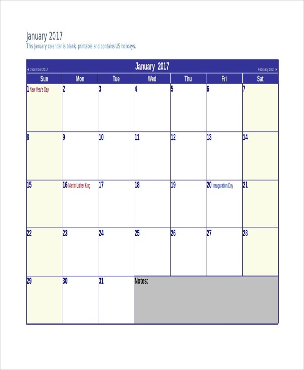 7+ Printable Monthly Calendars Sample Templates