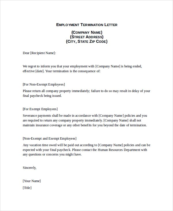 9+ Sample Termination Letters Sample Templates - format of termination letter