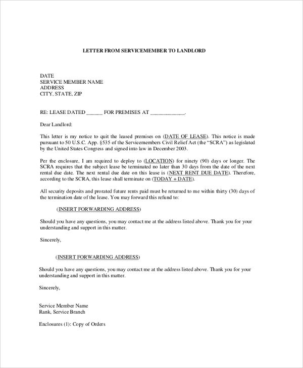 sample lease termination letter from landlord to tenant
