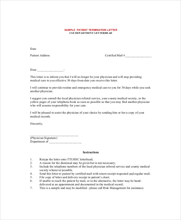 Sample Termination Letter - 9+ Examples in PDF, Word - sample termination letters