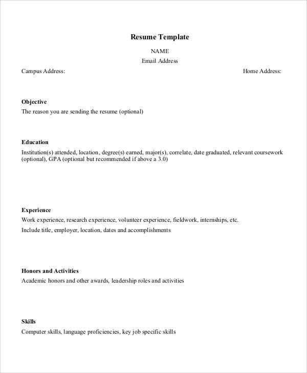 8+ Sample Resume Layouts Sample Templates