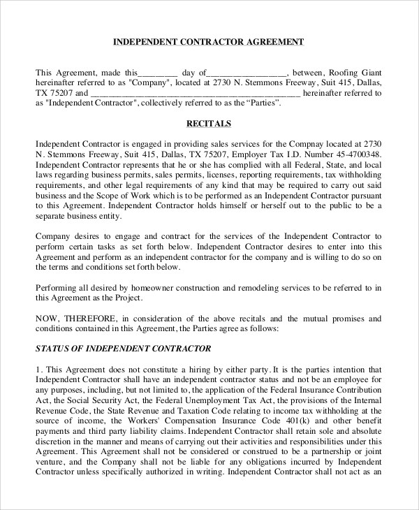 Sample Independent Contractor Agreement - 9+ Examples in Word, PDF