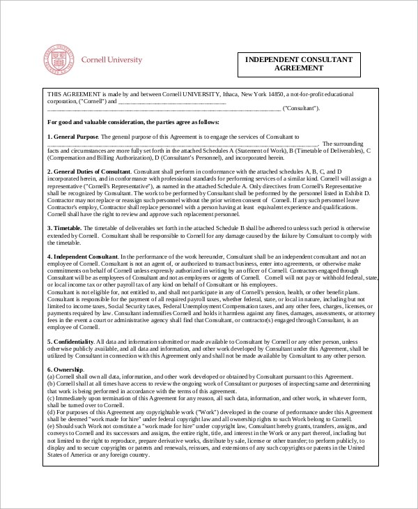 independent consulting agreement – Standard Consulting Agreement