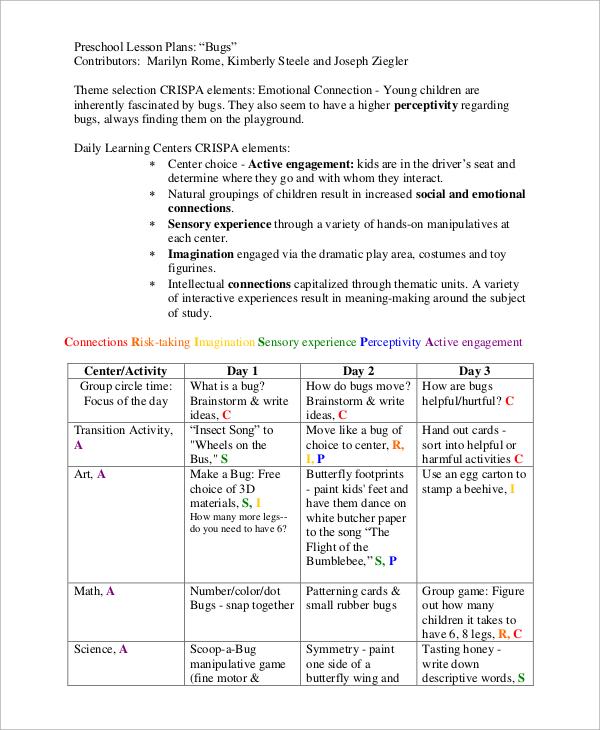 9+ Sample Preschool Lesson Plans Sample Templates