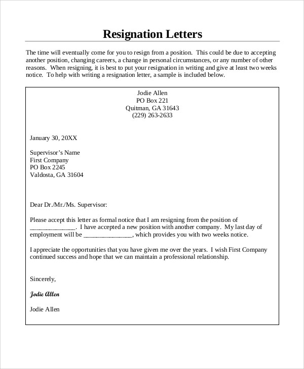 7+ Resignation Letter Samples, Examples, Templates Sample Templates