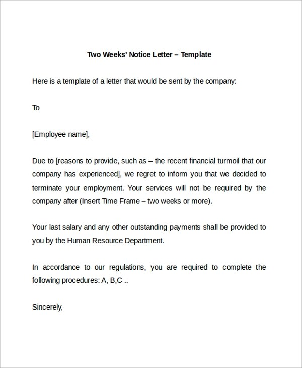 Resignation Letter 2 Week Notice Pdf | Promotion Flyer Template