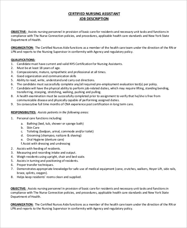 8+ CNA Job Description Samples Sample Templates - Nursing Assistant Job Description