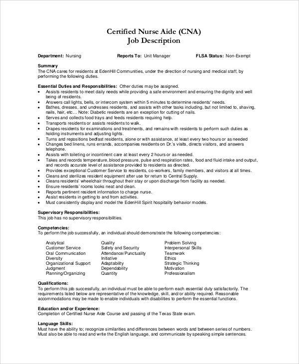 skills cna resume job description