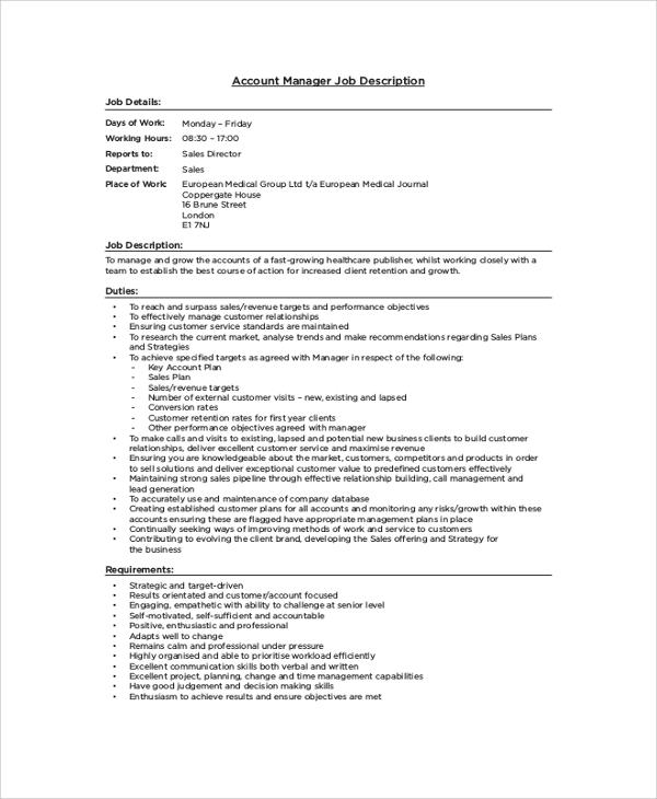 8+ Accountant Job Description Samples Sample Templates - account manager job description