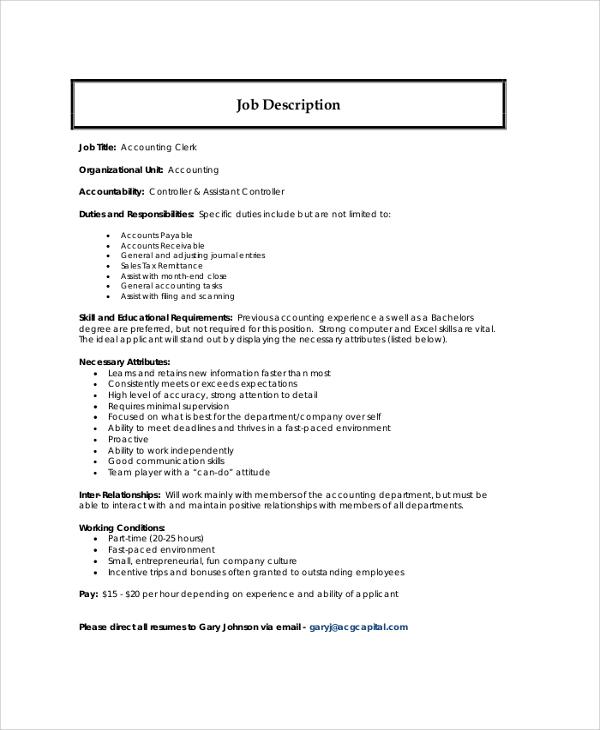 Sample Accountant Job Description - 9+ Examples in PDF, Word