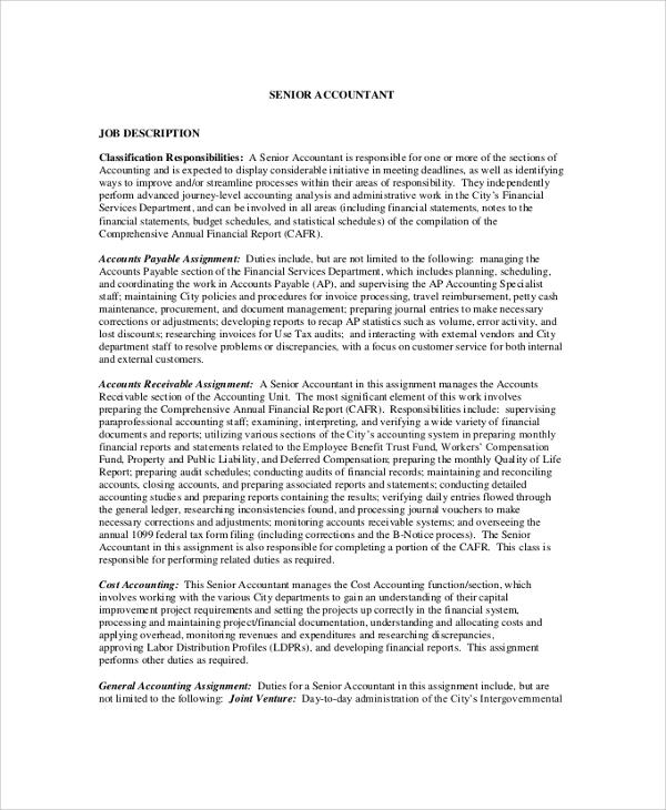8+ Accountant Job Description Samples Sample Templates - senior accountant job description
