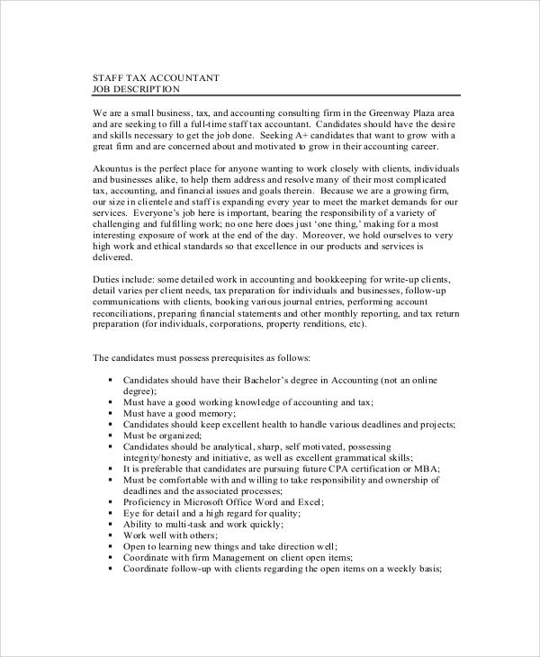 Tax Preparer Job Description - Gse.Bookbinder.Co