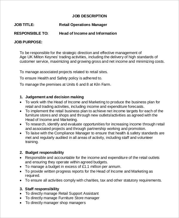 Retail Job Description Retail Assistant Manager Job Description - assistant manager job description
