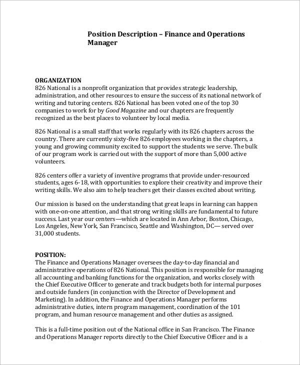 Sample Operations Manager Job Description - 9+ Examples in PDF